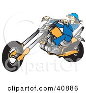 Clipart Illustration Of A Brunette Biker Chick In A Hat Riding An Orange Chopper
