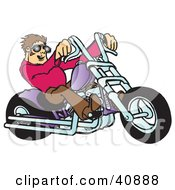 Clipart Illustration Of A Young Brunette Biker Dude In Shades Riding His Purple Chopper