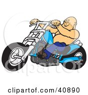 Clipart Illustration Of A Bald And Shirtless Biker Dude Riding His Blue Chopper