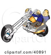 Clipart Illustration Of A Cool Balding Biker Man Leaning Back While Riding His Orange Chopper