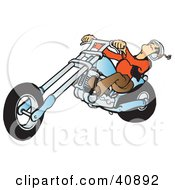 Clipart Illustration Of A Biker Dudes Head Falling Back While Riding A Powerful Blue Chopper