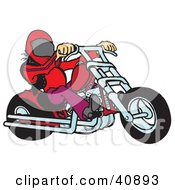 Clipart Illustration Of A Biker Dude In A Helmet Riding A Red Motorcycle Chopper