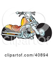 Clipart Illustration Of A Cool Orange Motorcycle Chopper