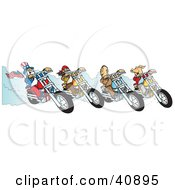 Clipart Illustration Of A Hog Two Biker Dudes And Uncle Sam Racing Choppers by Snowy