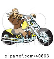 Clipart Illustration Of A Red Haired Biker Chick Riding Her Yellow Chopper by Snowy