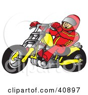 Clipart Illustration Of A Biker Wearing A Helmet And Suit Riding A Yellow Chopper