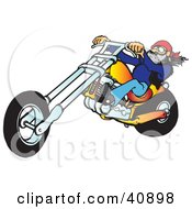 Clipart Illustration Of A Cool Motorcycle Dude With A Beard Riding His Orange Chopper