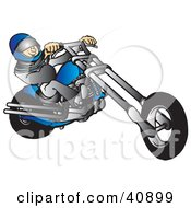 Clipart Illustration Of A Biker Wearing A Helmet And Suit Riding A Blue Chopper