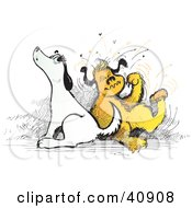 Clipart Illustration Of Two Itchy Dogs Scratching And Howling by Snowy