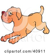 Clipart Illustration Of A Playful Brown Dog Crouching Down by Snowy