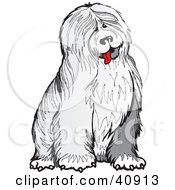 Clipart Illustration Of A Friendly And Shaggy Old English Sheepdog by Snowy