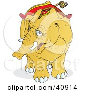 Clipart Illustration Of A Curious Yellow Circus Elephant Wearing A Read Saddle And Head Accessory by Snowy