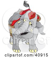Clipart Illustration Of A Happy Gray Circus Elephant In Red Riding Gear