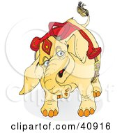 Clipart Illustration Of A Playful Yellow Circus Elephant In Its Riding Gear