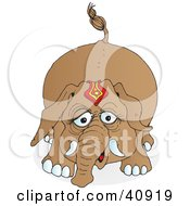 Clipart Illustration Of A Playful Brown Circus Elephant