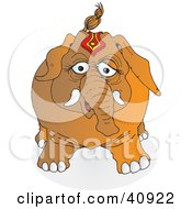 Clipart Illustration Of A Standing Brown Circus Elephant