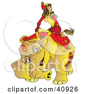 Happy Circus Elephant Kneeling To Assist A Beautiful Female Handler Onto Its Back