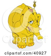 Clipart Illustration Of A Shy Yellow Circus Elephant Wearing A Head Accessory by Snowy