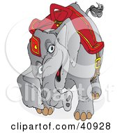 Clipart Illustration Of A Curious Gray Circus Elephant In Red Riding Gear