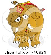 Clipart Illustration Of A Curious Brown Circus Elephant Wearing Riding Gear