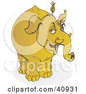 Clipart Illustration Of A Grumpy Yellow Elephant by Snowy