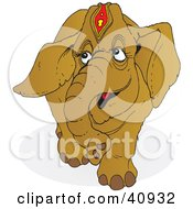 Clipart Illustration Of A Proud Brown Circus Elephant by Snowy
