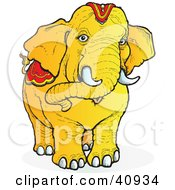 Clipart Illustration Of A Friendly Yellow Circus Elephant With Red Gear On