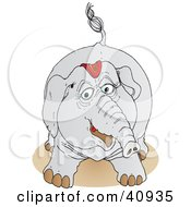 Clipart Illustration Of A Playful Gray Circus Elephant In Its Riding Gear