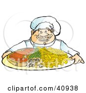 Clipart Illustration Of A Friendly Male Chef Serving A Dinner Of Steak Veggies And Fries by Snowy