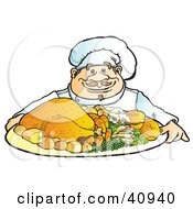 Clipart Illustration Of A Friendly Male Chef Serving A Chicken Dinner With Veggies by Snowy