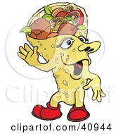 Clipart Illustration Of A Tempting Fajita Wrap Waving