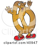 Clipart Illustration Of A Tempting Soft Pretzel Character Waving His Arms by Snowy #COLLC40947-0092