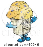Clipart Illustration Of A Tempting Blueberry Muffin Holding His Arms Out