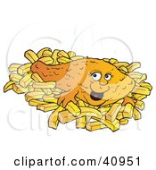 Clipart Illustration Of A Smiling Fish And Chips Meal by Snowy