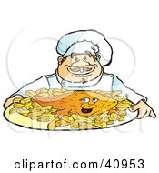Clipart Illustration Of A Friendly Male Chef Serving Fish And Chips by Snowy