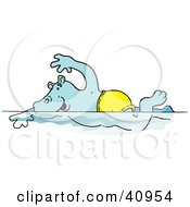 Clipart Illustration Of A Blue Hippo Swimming In A Pool