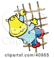 Clipart Illustration Of A Yellow Hippo Climbing A Rope Ladder by Snowy