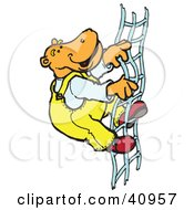 Orange Hippo Climbing A Rope Ladder