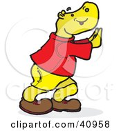 Clipart Illustration Of A Yellow Hippo Pushing Against A Wall by Snowy