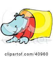 Clipart Illustration Of A Blue Hippo Crawling Through A Tunnel by Snowy