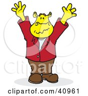 Clipart Illustration Of A Yellow Hippo Holding Up His Arms by Snowy