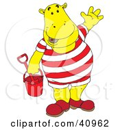 Yellow Hippo With A Bucket At The Beach