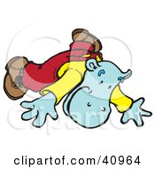 Clipart Illustration Of A Blue Hippo Falling Forward
