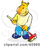 Yellow Hippo Sweeping With A Push Broom