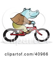 Clipart Illustration Of A Blue Hippo Riding A Red Bike