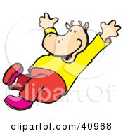 Clipart Illustration Of A Happy Hippo Going Down An Invisible Slide Or Jumping by Snowy