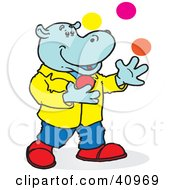 Clipart Illustration Of A Blue Hippo Juggling Colorful Balls by Snowy