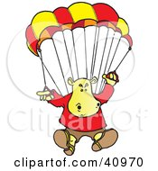 Clipart Illustration Of A Yellow Hippo Parachuting In The Sky