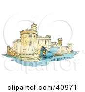 Clipart Illustration Of A Castle Surrounded By A Moat With The Draw Bridge Up And Secured