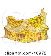 Clipart Illustration Of A Yellow Gingerbread House With Chimneys